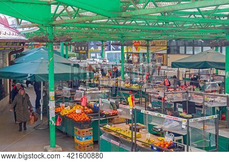 Belgrade, Serbia - February 14, 2021: Farmers Market Zeleni Venac At Cold Winter Day In Belgrade, Se