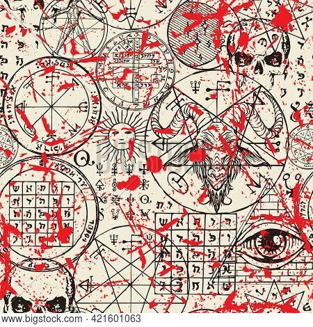 Hand-drawn Seamless Pattern With Goat Head, All-seeing Eye, Human Skulls, Masonic And Esoteric Symbo