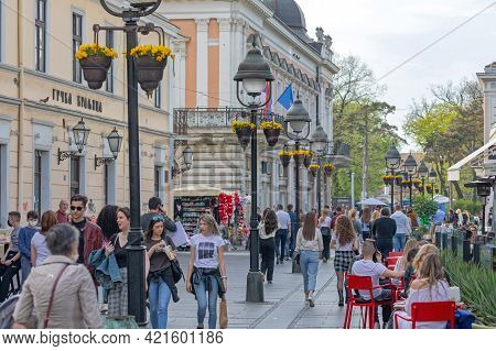Belgrade, Serbia - April 12, 2021: People Walking At Kneza Mihaila Pedestrian Street Spring Day In B