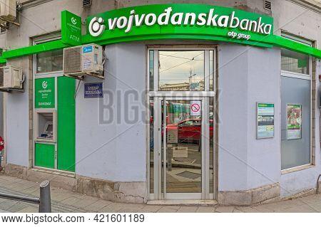 Belgrade, Serbia - February 14, 2021: Vojvodjanska Bank Otp Group At Slavija Square In Belgrade, Ser