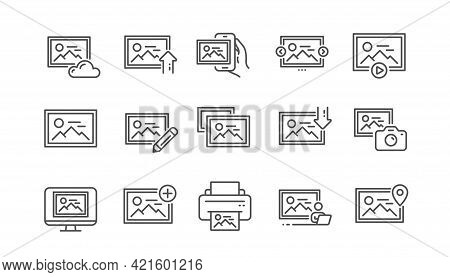 Photo Line Icons. Print Image, Photo Camera, Upload Picture Icons. Edit Image, Play Presentation And