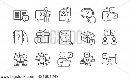 Questions Line Icons. Artificial Intelligence Computer, Phone With Question Mark, Problem Solve. Qui