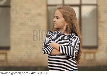 Your Hair Is Our Craft. Little Girl Wear Long Hair Urban Outdoors. Confident Look Of Small Child. Be