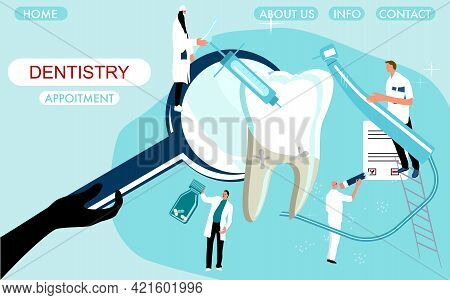 Dental Clinic Website Template .tiny Doctors Holding Drill Bit And Cure Huge Molar Tooth With Caries