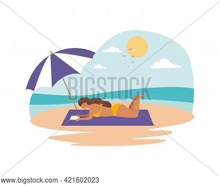 Woman In A Swimsuit Reading A Book On The Beach By The Ocean. Summer Time Beach Activity. Vector Ill