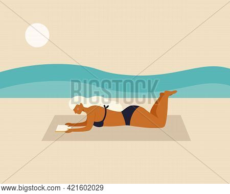 Woman Lying Down And Reading A Book At The Beach On Minimal  Modern Abstract Background. Summer Time