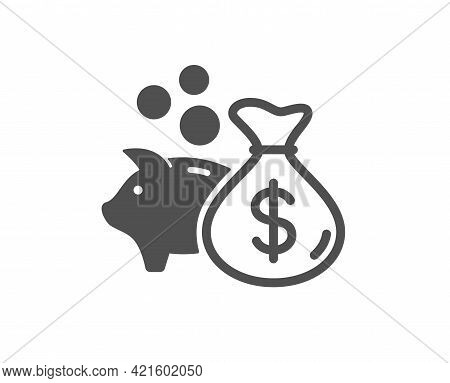 Loan Simple Icon. Business Mortgage Sign. Piggy Bank Symbol. Classic Flat Style. Quality Design Elem