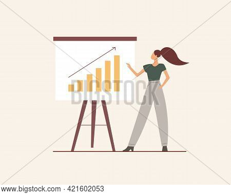 Woman Making Presentation And Pointing At The Board. Modern Businesswoman Explaining And Presenting.
