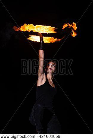 Sexy Girl Spinner Spin Burning Poi Creating Fire Orbital In Dark Night Outdoors, Spinning