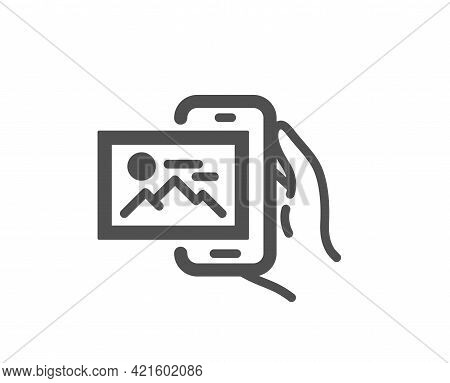 Image Album Simple Icon. Phone Photo Sign. Smartphone Picture Gallery Symbol. Classic Flat Style. Qu