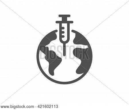 Pandemic Vaccine Simple Icon. Corona Syringe Sign. Covid Jab Symbol. Classic Flat Style. Quality Des