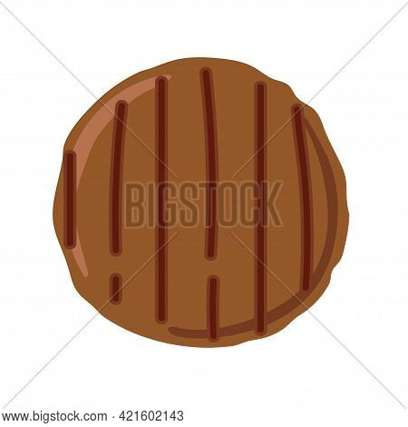 Burger Cutlet Isolated On White Background. Overhead View Of Grilled Hamburger Cutlet. Butchery Busi