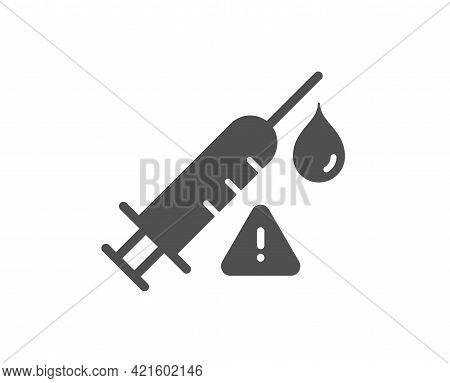 Vaccine Attention Simple Icon. Vaccination Syringe Warning Sign. Jab Symbol. Classic Flat Style. Qua