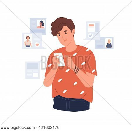 Young Man Looking For Girlfriend Through Mobile Phone Dating App. Guy With Smartphone Chatting, Flir