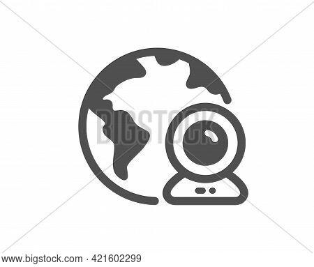 Video Conference Simple Icon. Virtual Presentation Sign. Web Camera Symbol. Classic Flat Style. Qual