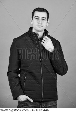 Comfy Style. For Successful Living. Winter Fashion. Guy Wear Black Winter Jacket. Stylish And Comfor