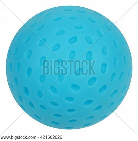 Blue rubber ball shaped as planet or meteor with craters isolated on white background