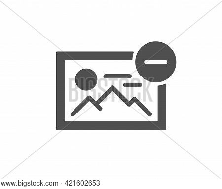 Remove Image Simple Icon. Photo Thumbnail Sign. Picture Placeholder Symbol. Classic Flat Style. Qual