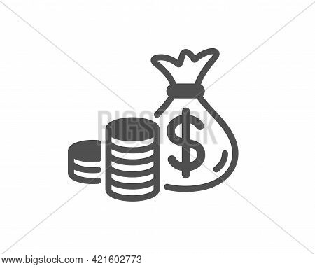 Coins Bag Simple Icon. Cash Money Sign. Income Savings Symbol. Classic Flat Style. Quality Design El