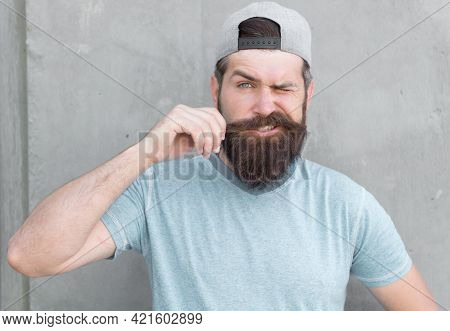 Grow Mustache. Cool Hipster With Beard Wear Cap. Barber Salon And Facial Hair Care. Hipster Lifestyl