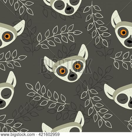 Seamless Pattern With Heads Of Lemurs On A Dark Background. Exotic Cute Animals Of Madagascar And Af