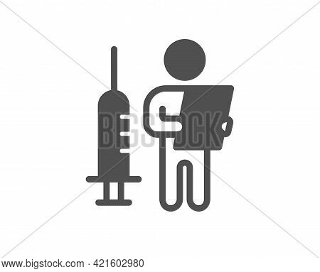 Vaccination Announcement Simple Icon. People Vaccine Syringe Sign. Injection Jab Symbol. Classic Fla