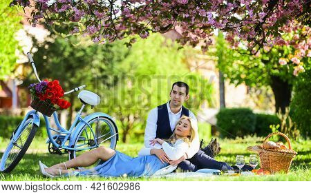 Romantic Picnic. Anniversary Concept. Idyllic Moment. Man And Woman In Love. Picnic Time. Spring Dat