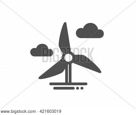 Windmill Turbine Simple Icon. Wind Power Energy Sign. Alternative Supply Symbol. Classic Flat Style.
