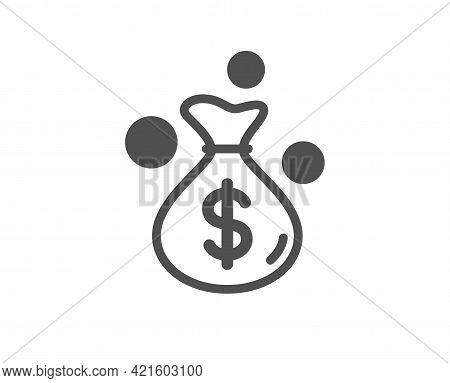 Money Bag Simple Icon. Cash Coins Sign. Income Profit Symbol. Classic Flat Style. Quality Design Ele