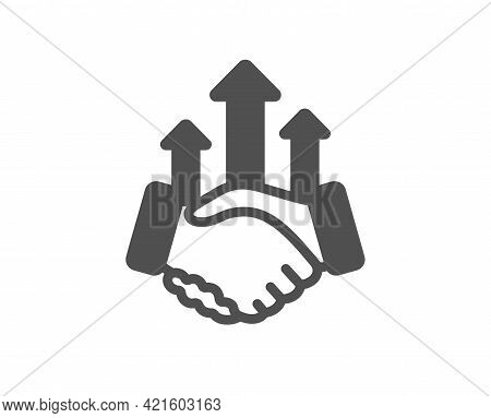 Deal Simple Icon. Business Handshake Sign. Investment Growth Chart Symbol. Classic Flat Style. Quali