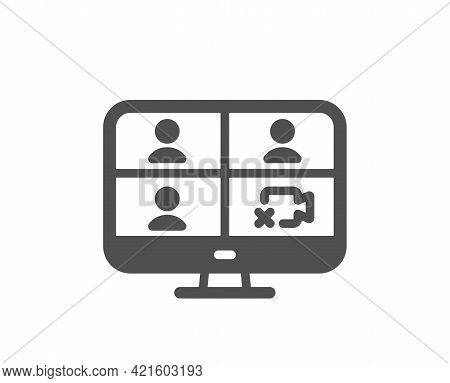 Video Conference Simple Icon. Online Training Sign. Team Presentation Symbol. Classic Flat Style. Qu
