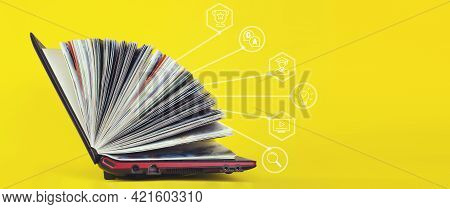 Elearning Concept - Laptop As Book On Yellow Background. Knowledge Base Concept. Online Courses Conc
