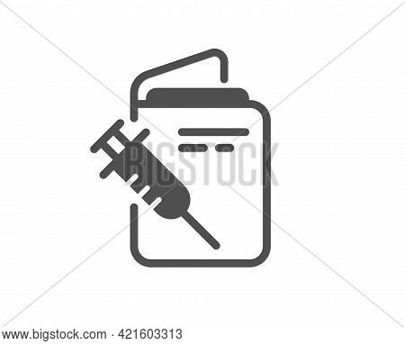 Vaccination Passport Simple Icon. Vaccine Syringe Sign. Jabbed Symbol. Classic Flat Style. Quality D