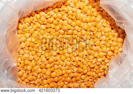 Red Type Of Lentil.orange Lentils From The Legume Family Top View.
