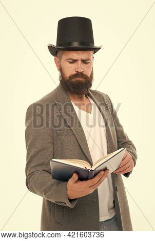 Acting School. Practicing Acting. Recite Verses. Poet Or Writer. Author Of Novel. Inspired Bearded M