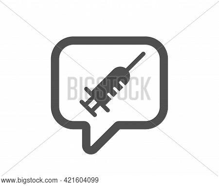 Vaccine Message Simple Icon. Vaccination Syringe Sign. Jab Symbol. Classic Flat Style. Quality Desig