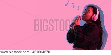 Contemporary Art Collage, Modern Design. Retro Style. Woman On Pink Studio Background In Magazine St