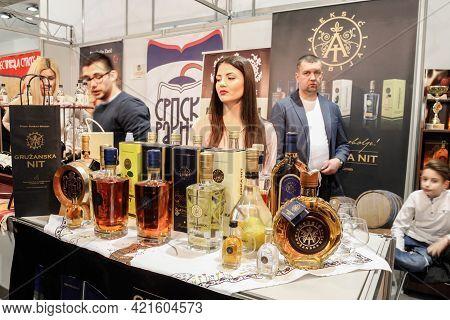Belgrade, Serbia - January 26, 2017: Selective Blur On Various Bottles Of Rakija, Of Different Fruit