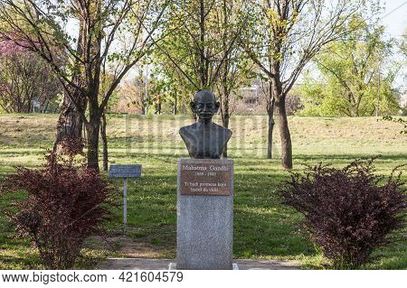 Belgrade, Serbia - April 24, 2021: Bronze Bust Statue Of Mahatma Gandhi In A Park Of New Belgrade. G