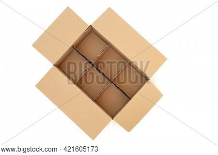 Brown cardboard box with six compartments for packaging and  delivery on white background. Top view.