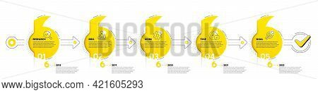 Quotation Bookmarks Timeline With Icons. 5 Steps Journey Path Of Business Project Process. Infograph