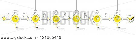 Infographic Timeline With Lamp Light Bulbs Icons. 6 Steps Idea Journey Path Concept Of Business Proj