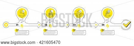 Timeline With Lamp Light Bulbs And Icons. 4 Steps Idea Journey Path Chart Of Business Project Proces