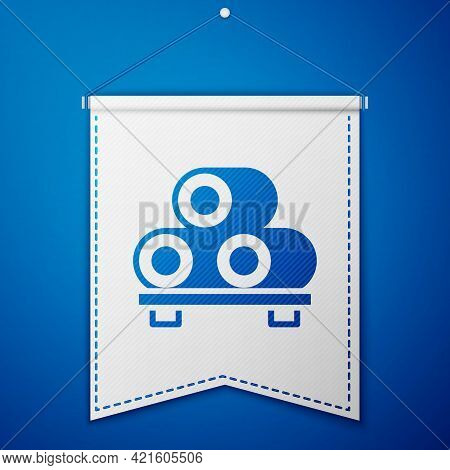Blue Sushi On Cutting Board Icon Isolated On Blue Background. Asian Food Sushi On Wooden Board. Whit