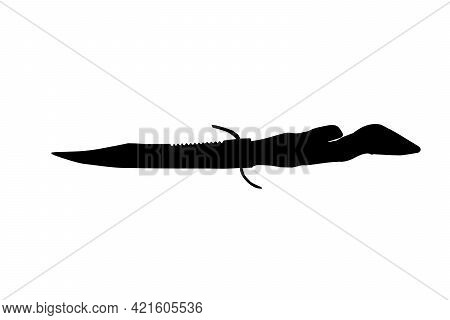 Black And White Silhouette Goat Hoof Hunting Knife On White Background. Knife With Saw And Handguard