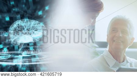 Composition of diverse doctor and patient and interface with model of brain with motion blur. medical science and technology concept digitally generated image.