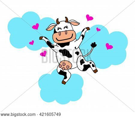 A Loving Cow Soars In The Clouds. Cartoon. Vector Illustration.