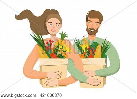 Man And Woman Buying Fruits And Vegetables In Paper Bags. Happy Couple With Veggies Products. Vector