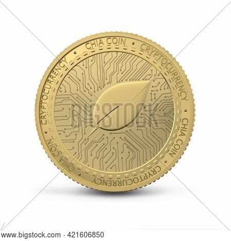 Physical Chia Coin. Digital Currency. Cryptocurrency. Golden Coin With Ciacoin Symbol Isolated On Wh