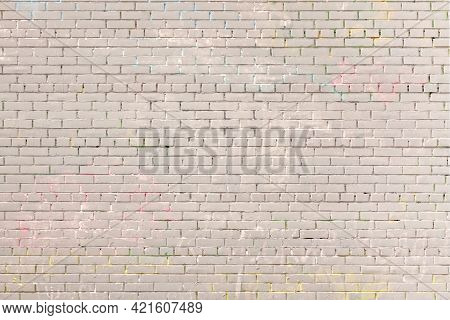 Urban Loft Brick Wall Background Empty Grunge Industrial Street Colored Graffiti Painted. Covered Wi